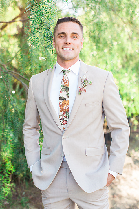 Los-angeles-garden-wedding-at-retreat-malibu-groom-tan-suit