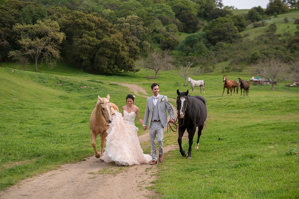 temperino-ranch-wedding-bride-and-groom-walking-with-horses-bride-in-a-lace-dress-with-straps-and-hair-pulled-back-groom-in-a-light-grey-suit