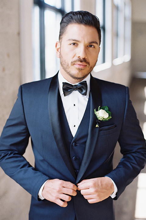 Same-sex-industrial-wedding-at-the-1912-groom-navy-tuxedo-close-up