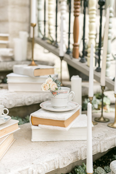 Sherman-library-and-gardens-wedding-decor-books-tea-cups