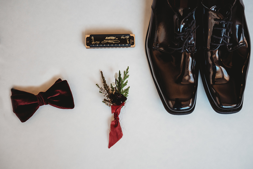 owl-creek-farms-groom-accessories-with-black-tuxedo-shoes-and-bow-tie