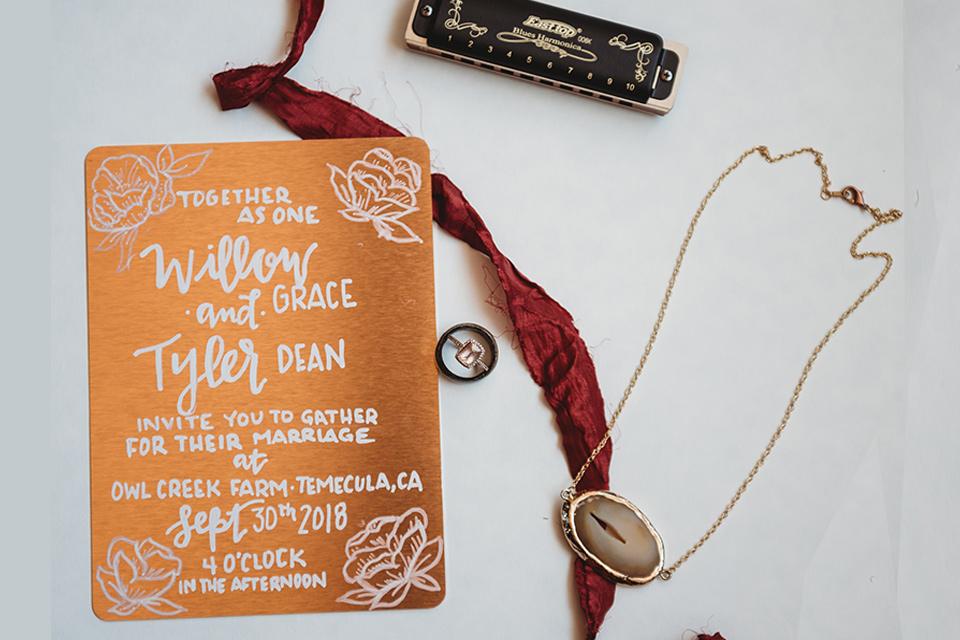 owl-creek-farms-invitations-on-burn-orange-paper-with-burgundy-ribbon