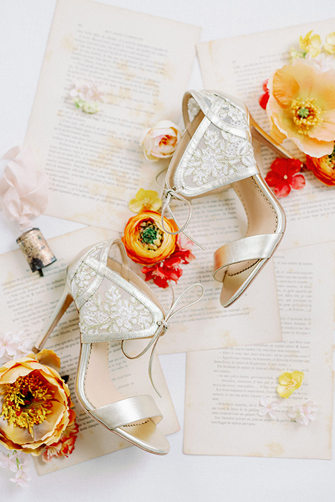 bridal shoes with a lace design