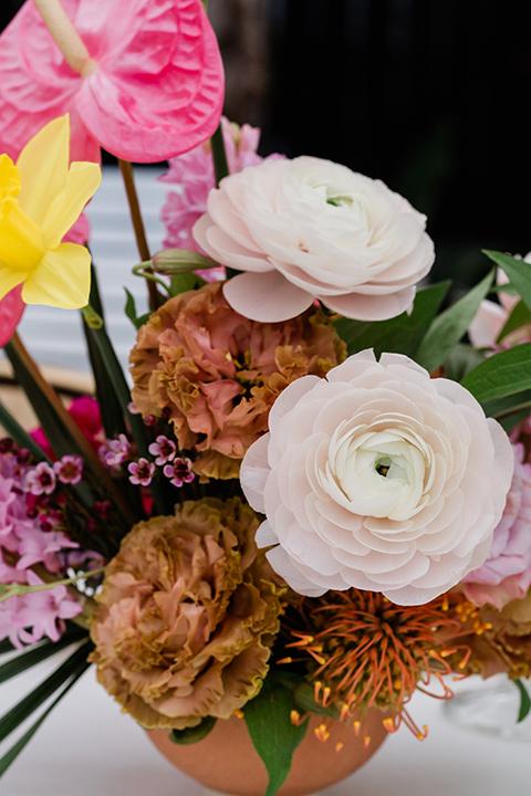 florals in a gold vase
