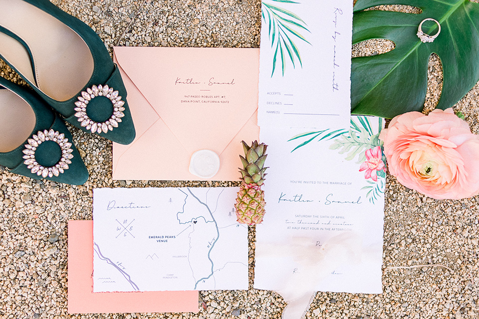 emerald-peak-temecula-wedding-invitations-in-pink-and-green-staionary