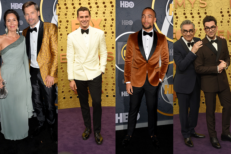 Nikolaj wearing a gold tuxedo, Antoni porowski wearing an ivory double breasted tuxedo with black pants, and Kendrick Sampson wearing a bronze velvet tuxedo with black pants, and father son duo Eugene and Daniel Levey wearing blue and dark brown tuxedos