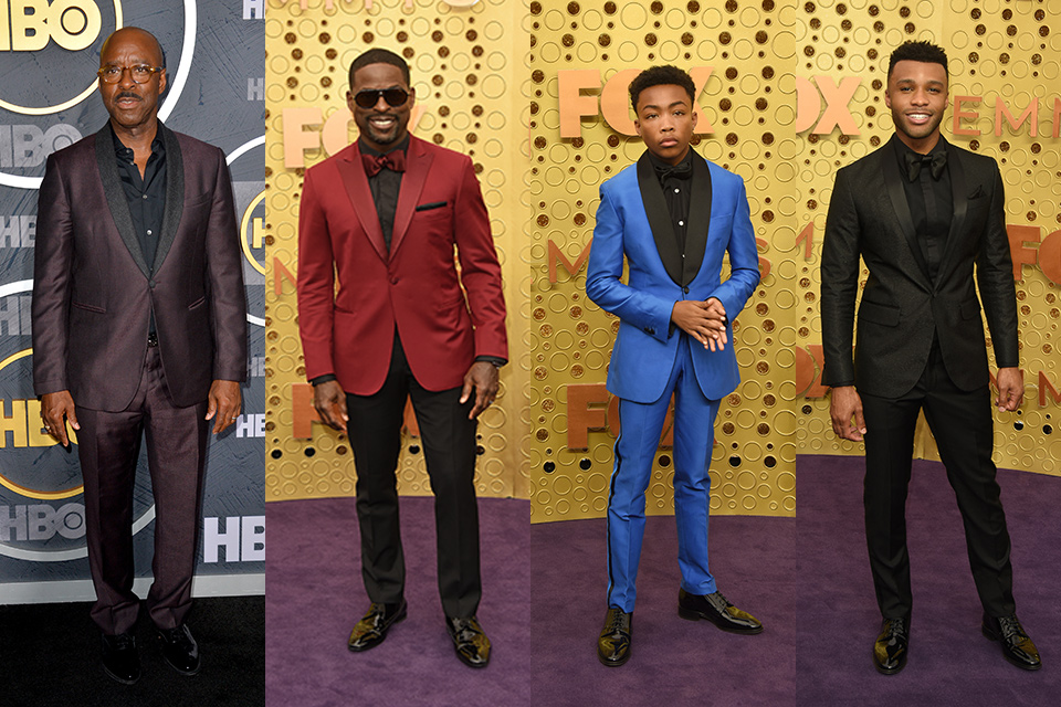 Various celebrity A-listers wearing different tuxedo colors but all with black shirts underneath