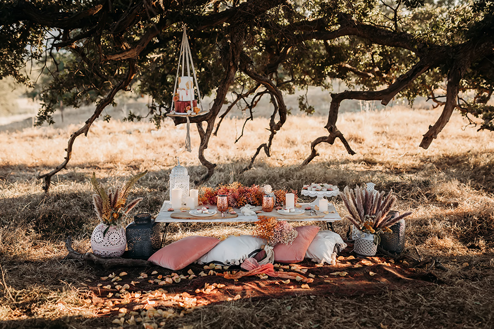 boho style wedding design with pink and white pillows and carpets with a picnic style set up