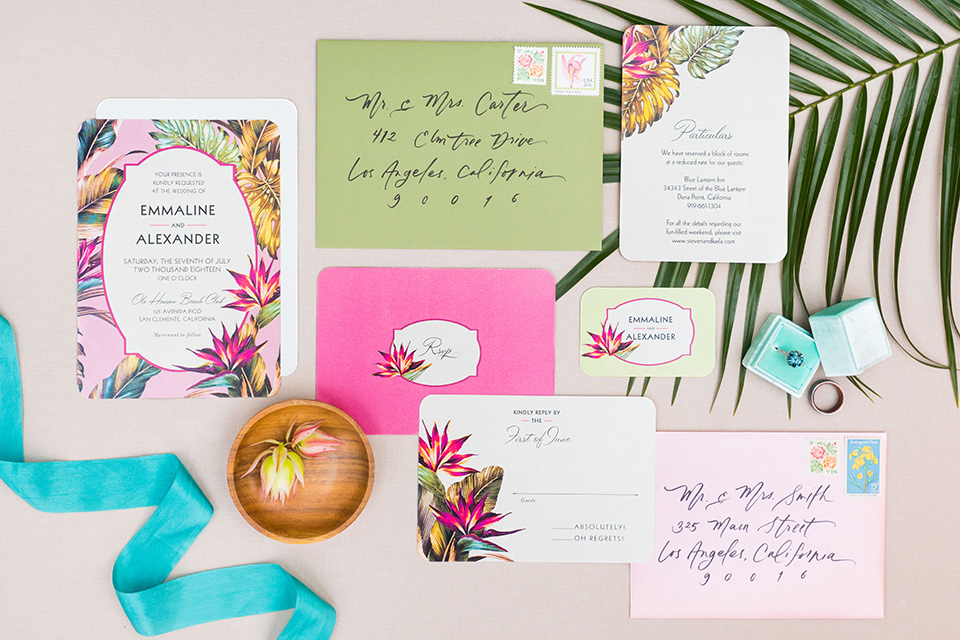 Ole-Hanson-Beach-Club-invitations-in-colorful-styles-with-a-tropical-feel-to-them