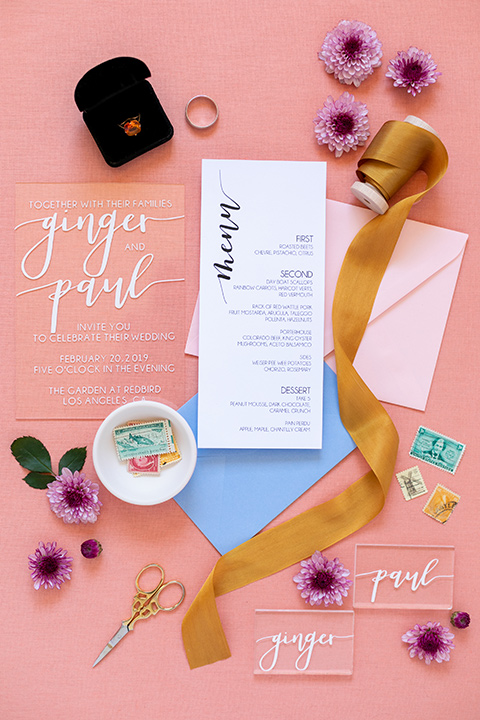 colorful invitations with golds and blue design