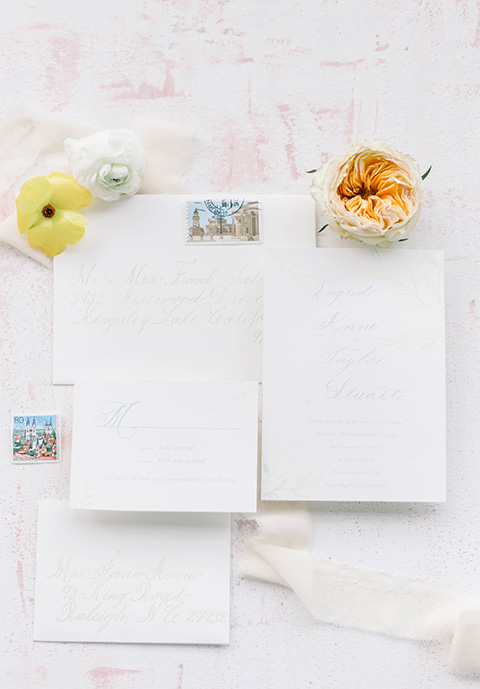 Spring-styled-shoot-invitations-on-white-paper-and-gold-cursive