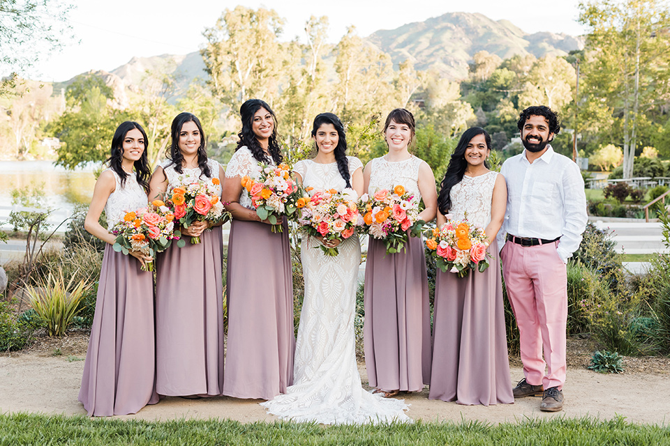 Supriya-and-Chris-wedding-brides-bridalparty-in-pink-and-cream-two-toned-gowns