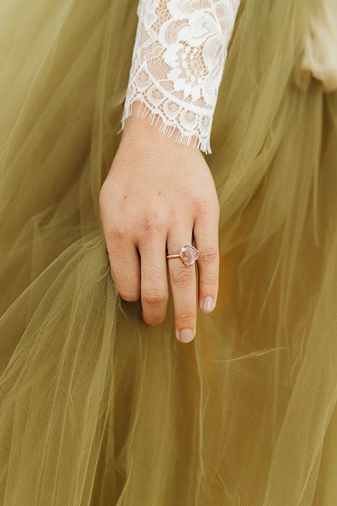 Utah-snow-canyon-shoot-bridal-ring-with-a-natural-looking-stone-with-a-gold-band