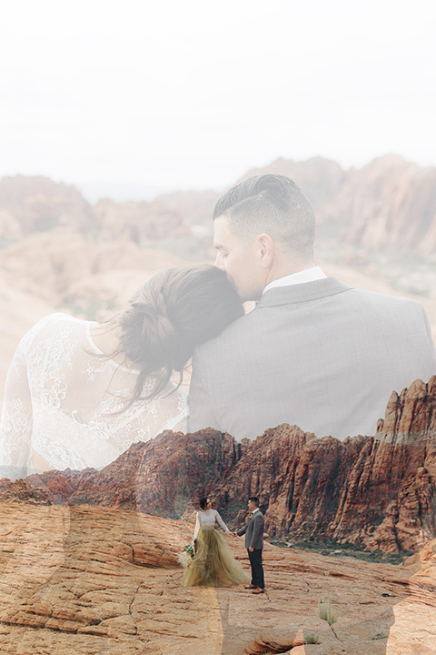 Utah-snow-canyon-shoot-double-exposure-photo-of-bride-and-groom-the-bride-is-wearing-an-olive-green-tulle-skirt-and-an-ivory-lace-crop-top-with-long-sleeves-the-groom-in-a-café-brown-suit-with-blue-navy-pants-and-vest-with-a-gold-velvet-bow-tie