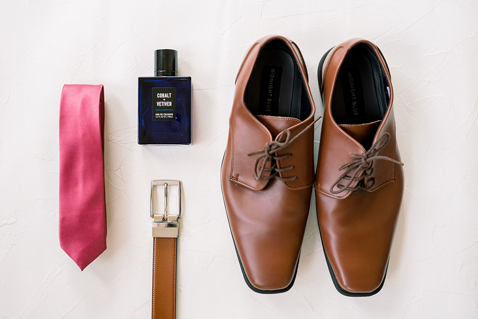 community-church-wedding-groomsmen-accessories-with-brown-dress-shoes-a-red-tie-and-brown-belt