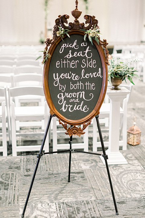 community-church-wedding-pick-a-seat-sign-at-ceremony