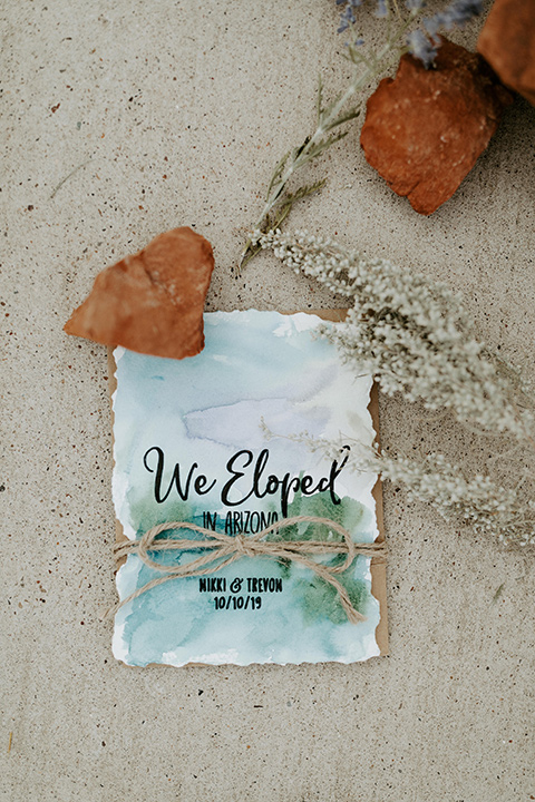 we eloped invitations with watercolor design
