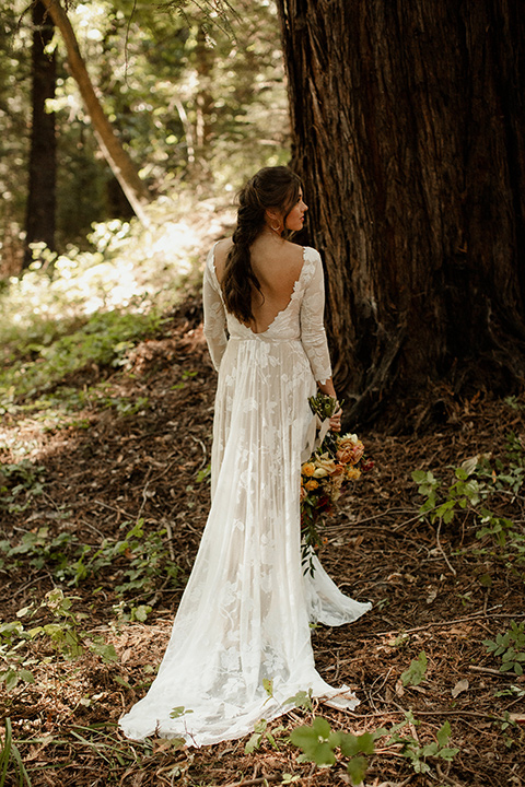 formfitting bridal lace gown with sleeves