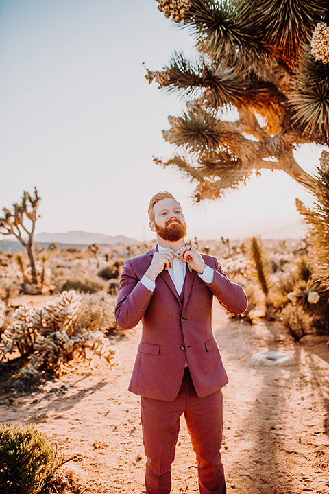 groom in a rose pink suit with a bow tie
