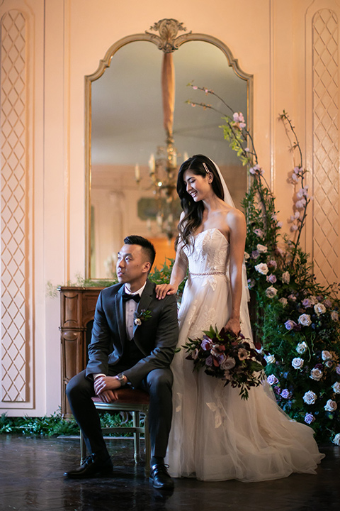 bride in a modern ballgown with a strapless neckline