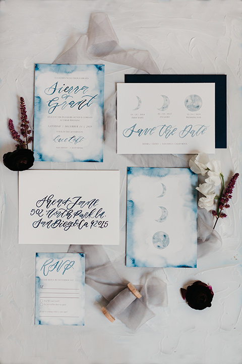 invitations in blue and midnight with star details
