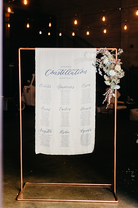 white table chart with a gold frame