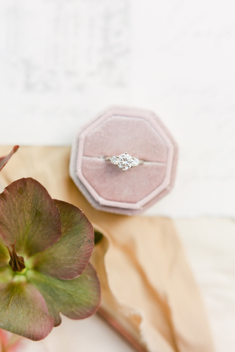 vintage style ring in a rose pink velvet box