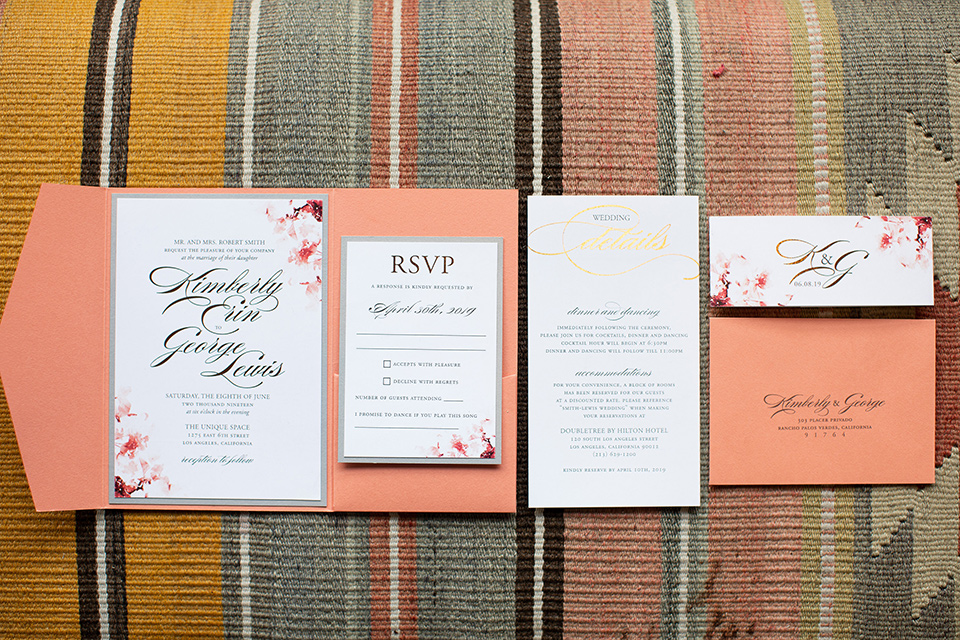 invitations with floral details