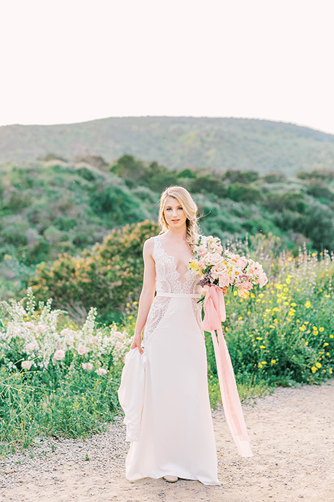 bride in a French inspired casual flowing gown
