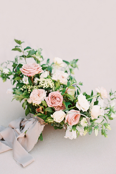 white, pink, and green floral bouquet