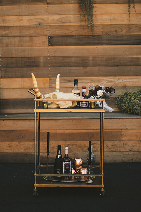gold bar cart and cocktails