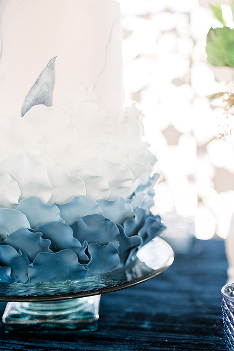 cake with a white to blue ombre effect
