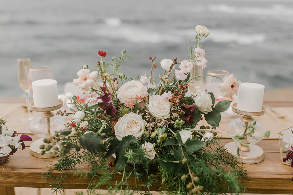 white and pink floral design with green details