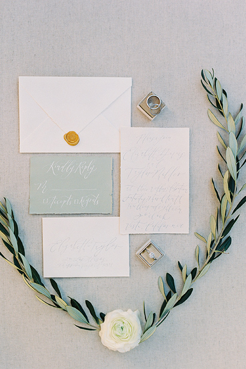 sage and white wedding invitations
