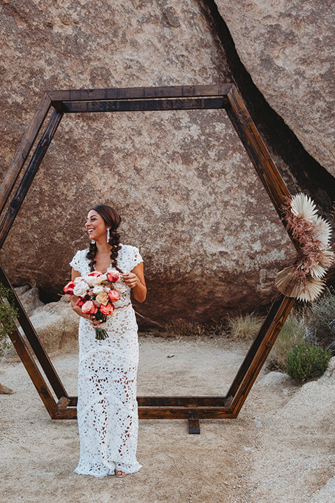 bride in a boho two-piece gown