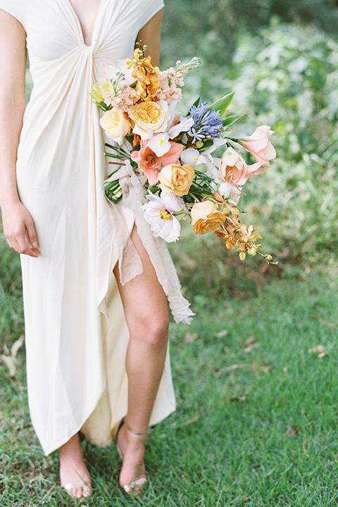 ruffled shoot in texas – bride in a romantic casual wrap dress